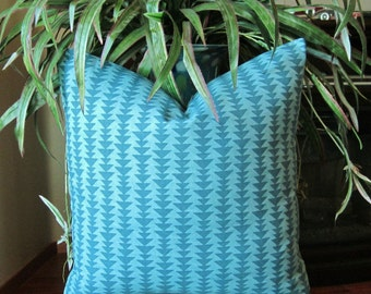 Turquoise Geometric Decorative Pillow Cover