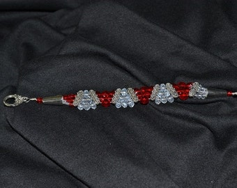 Red and Clear Crystal Pyramid Bracelet