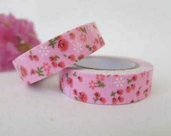 Pink Floral Fabric Tape / Adhesive Decoration Fabric Tape  FT025
