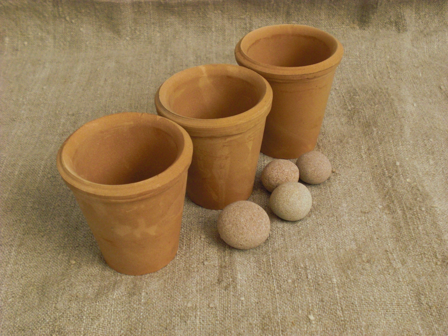 3 small miniature clay ceramic pots terra cotta handmade