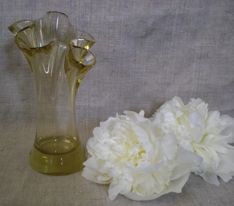 Vintage yellow glass vase small bud vase summer garden table