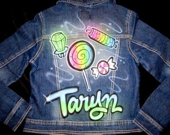 airbrushed candy personalized denim jacket