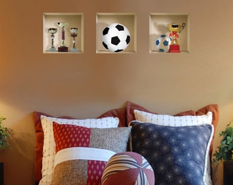 FREE SHIPPING! New Set 3 Football Wall Stickers 3D Art Magic NICHE Picture Removable Vinyl Modern Home Decor Tile Decals Sport Kids Children
