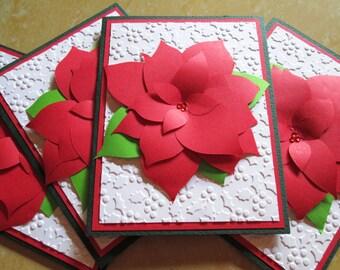 Poinsettia Christmas Cards, Christmas Card Set, Holiday Cards, Boxed Christmas Card Sets, Holiday Card Set, Merry Christmas Card Sets