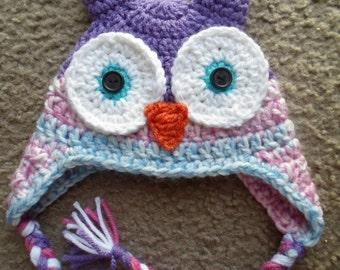 Owl Hat w/Ear Flaps and Braids. Sizes Newborn, 0-3 Mths, 3-6 Mths, 6-9 Mths, 9-12 Mths