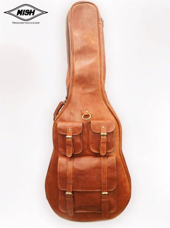 leather guitar case soft case guitar bag leather case. Black Bedroom Furniture Sets. Home Design Ideas