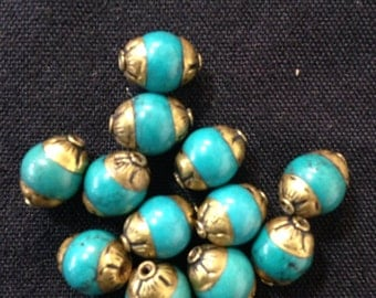 B8 Turquoise Tibetan Beads (12pc)
