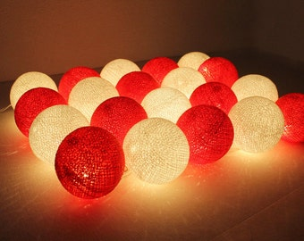 White & Red Cotton Ball Wedding Holiday/Party String Lights 20 Lanterns