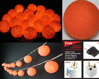 20 salmon cotton ball string lights for Patio,Wedding,Party Home decoration
