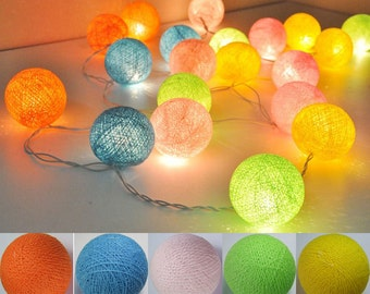 20 light Candy tones cotton ball Bali string light wedding party display light decor room indoor outdoor