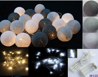 LED Battery 20 Mix Gray Cotton ball string lights for ,Party Home decoration