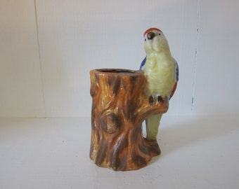 Vintage Parrot Bird Planter Vase Hand Painted Ceramic Pottery