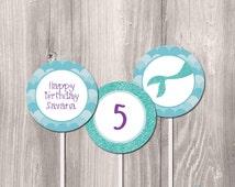 Mermaid Printable Party Circles - Little Mermaid DIY Printable Cupcake Toppers - Mermaid Printable Party Circles -  2in cupcake toppers