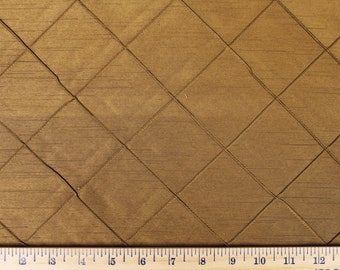 Brown/Gold Diamond Pleated Faux Silk  - Fabric by the Yard 035