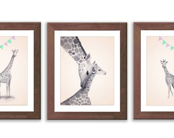 Baby Nursery Decor, Neutral Gender Nursery Art, Giraffe Watercolor Prints, Kids Wall Decor, Purple, Green and Gray - S012B