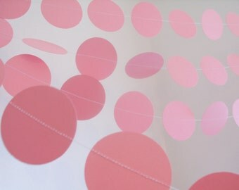 "Pink  paper garland 2""circle paper garland custom length babygirl babyshower decoration pink bridal shower decor pink princess party garland"