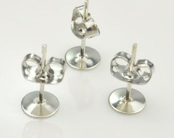 White K Earring Post:  6mm Nickel Free Tone White K Earring Post With Stopper Nut,Qty 40pcs(20 pairs).