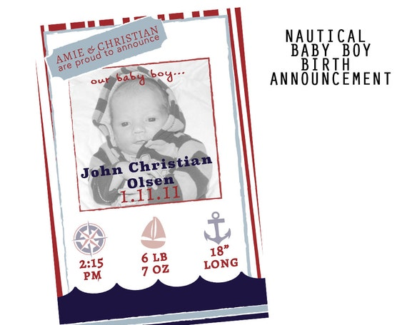 nautical baby boy birth announcement printable by