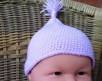 HANDMADE Baby Girl Pixie Hat. Baby Shower. Lilac. 0-1 year.