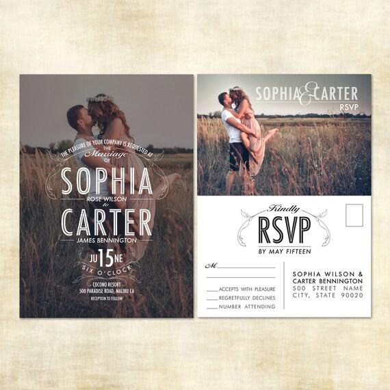 Digital printable photo wedding invitation and rsvp postcard for Digital wedding invitations with rsvp