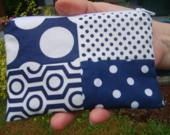 patchwork pink, white and navy zipper pouch