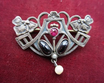 Antique art nouveau pin brooch silver plated Jugendstil brooch faux gems & pearl, vintage