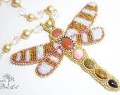 Bella Libelula - Beautiful Drangolfly - Bead Embroidered Necklace