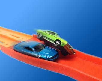 2-Lane Raceway Elimination Crash Merger (For Hot Wheels Toy Car Track) 2-to-1 Reducer