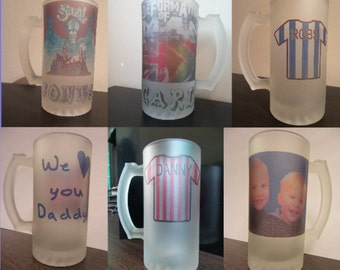 Personalised pint glass beer tankard