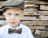 Boy Hat and Bow Tie Combination - Traditional Brown Wedding Hat and Bow Tie ; Boy Ring Bearer Outfit