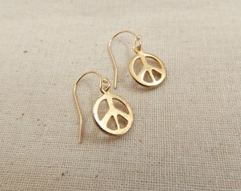 14K Gold Plated Sterling Peace Sign Earrings, Hippie Chic