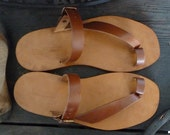 Handmade Leather men sandals natural tanned leather