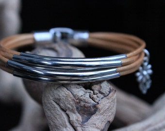 Womens Leather Bracelet, Silver Tube Bracelet, Girl Confirmation, Gold Leather Cord and Silver Tubes Bracelet, Best Friend Birthday
