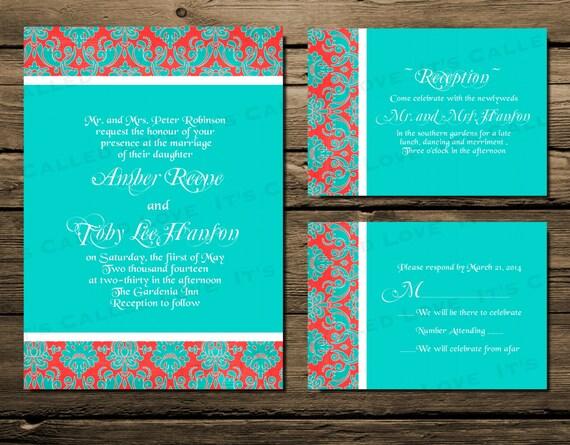 Bright Wedding Invitations: Items Similar To Printable Wedding Invitation, Invite