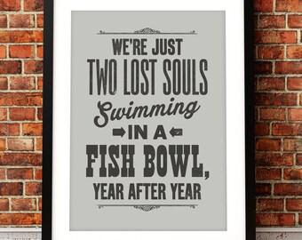 Pink Floyd song lyric art, Pink Floyd art print, music inspired print, typographic print, Wish You Were Here, Pink Floyd poster