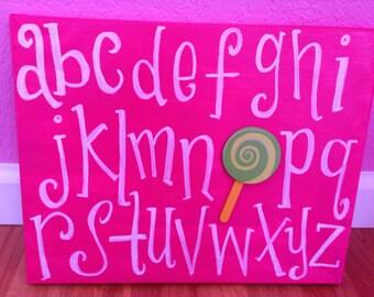 Little Girls Room Nursery Alphabet Wall Art, Handpainted, Flower, heart or Lollipop