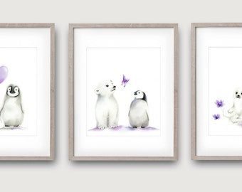 Arctic Animals, Lavender Grey, Baby Girl Nursery, Set of 3 Prints, Arctic Animal, Penguin, Polar Bear, Seal, Childrens Wall Decor, Painting