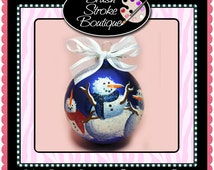 Large Winter Snowmen Ornament - Hand Painted Glass Ball Ornament - Baby's Birth or Birthday or Christmas - Can Be Personalized