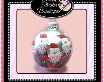 Large Santas Ornament - Hand Painted Glass Ball Ornament - Baby's Birth or Birthday or Christmas - Can Be Personalized