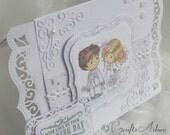 Wedding Congratulations Card - Handmade Wedding Congratulations Card - OOAK Wedding Card Unique One of A Kind Elegant Keepsake Card