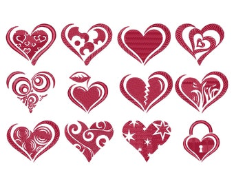 Hearts, love, machine embroidery design