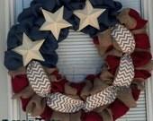 Red, natural and Blue Burlap Wreath - Year round  Wreath- 4th of July Wreath-Fourth of July Wreath- Red White patriotic burlap wreath