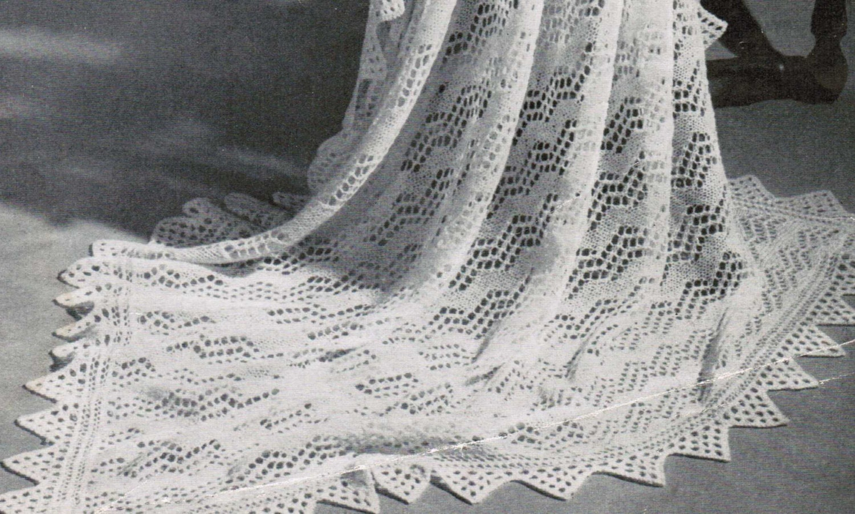 Vandyke Lace Knitting Pattern : Shetland Isles Shawl with VanDyke Lace Border Vintage Pattern