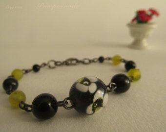 2330-Bracelet Murano glass, agate and jade