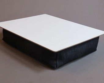 Custom handmade navy blue denim cushioned lapboard lap desk for drawing and creating on the go