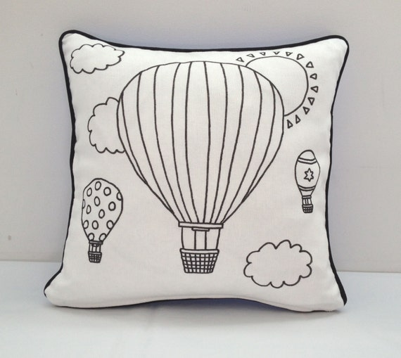 Colouring In Hot Air Balloon Cushion Cover | Kids Hand Drawn Black & White Cushion | Kids Decor | Kids Craft Activity | Gifts For Kids