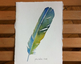 Light Blue-Green with Yellow Feather Watercolor Painting