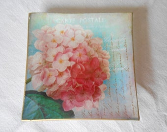 Decorative Plate. Hydrangea Decoupage glass dish.
