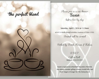 Coffee Themed Bridal Shower Invitation and Matching Thank You Card