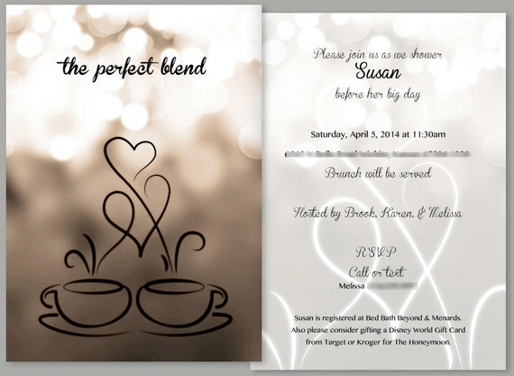 Coffee Themed Bridal Shower Invitation and Matching Thank You